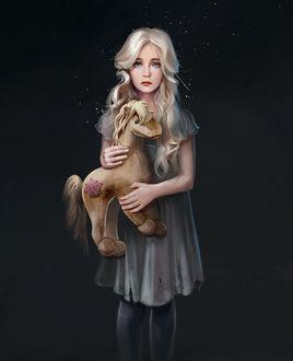 Фото Светловолосая голубоглазая девчушка в дырявом сером платьице, со штопаной игрушечной лошадкой в руках, стоит на сером фоне, by Julia Kovalyova