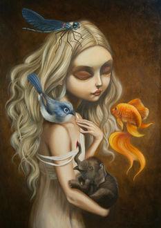 Фото Девочка с птицей, рыбкой, слоненком и стрекозой, by CarlaSecco