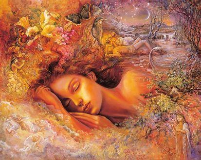 Фото Сон девушки - это вереница ярких мимолетных видений - легкие невесомые облака, уносящие вдаль, чарующие мелодии флейты в дивном саду с волшебными цветами и красивыми бабочками над ними, романтическое свидание на берегу реки под звездным шатром ночи, art Josephine Wall