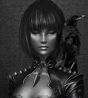 Фото Девушка с вороном на плече