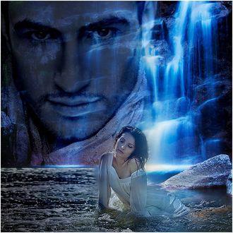 Фото Девушка сидя в воде вспоминает своего любимого парня, образ которого вырисовывается на скалах с водопадами