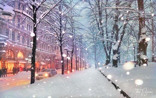 Фото Улочка Helsinki / Хельсинки под снегопадом, by Pajunen