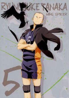Фото Tanaka Ryunosuke / Танака Рюноскэ из аниме Haikyuu! / Волейбол, wing spiker, art by Haruichi Furudate
