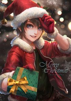 Фото Мальчик в новогоднем колпаке и курточке с подарком в руке (Merry Christmas / С Рождеством), by Tan Yau Lim