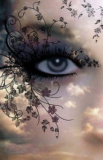Фото Глаз девушки в обрамлении стеблей с цветами и листьями, на фоне облачного неба