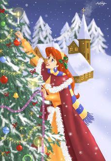 Фото Ариэль / Ariel из диснеевского мультика Русалочка / The Little Mermaid украшает новогоднюю елку, by Agi Vega