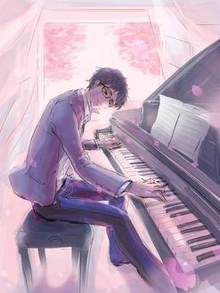 Фото Аrima Кousei / Арима Косэй из аниме Shigatsu wa Kimi no Uso / Твоя апрельская ложь играет на фортепииано