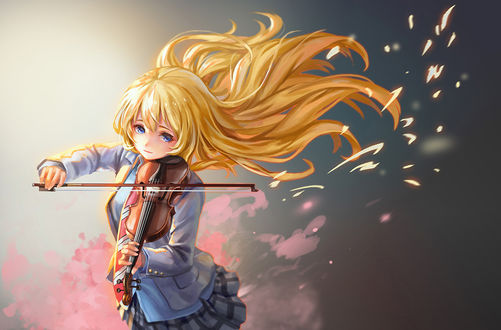 Фото Миядзоно Каори / Miyazono Kaori из аниме Твоя апрельска ложь / Shigatsu wa Kimi no Uso играет на скрипке