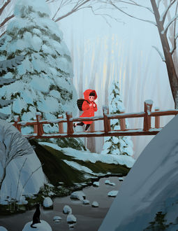 Фото Красная шапочка бежит по мосту через лесной ручей, где сидя на камне на нее смотрит кот