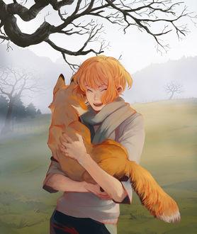 Фото Рыжеволосый смеющейся парень держит на руках лису, by Myst-A
