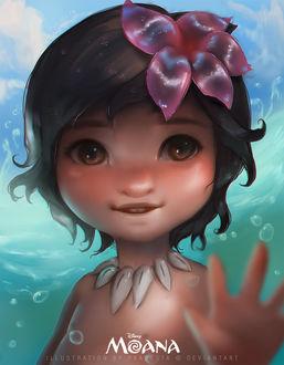 Фото Маленькая Моана Ваялики / Moana Waialiki с цветком на волосах, персонаж из мультфильма Моана / Moana, by Pradesta