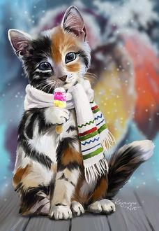 Фото Трехцветный котенок с шарфиком на шее держит в лапке мороженое, by Kajenna