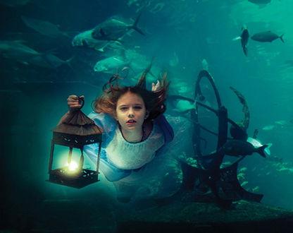 Фото Главная героиня сказки Алиса в стране чудес / Alice in Wonderland с фонарем плывет под водой в окружении рыб, by Elena Kalis