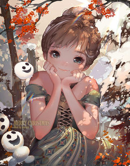 Фото Принцесса Анна / Anna из мультфильма Холодное сердце / Frozen со снежками (Merry Christmas / Счастливого Рождества), by kawacy