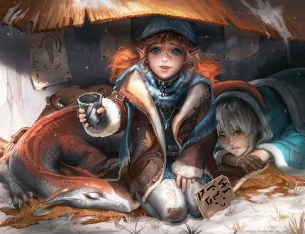 Фото Бездомные эльфы с драконом ютятся под навесом на улице зимой. Рыжая эльфийка с мольбой в глазах протягивает дырявую жестяную кружку для подаяния