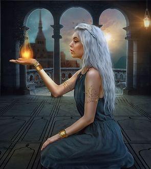 Фото Девушка с серебристыми волосами, с огнем на ладони сидит на полу в замке, by ektapinki