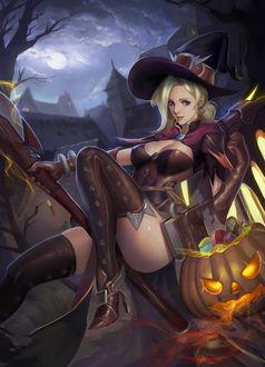 Фото Ведьма с посохом и светильником Джека со сладостями ночью на Хэллоуин / Halloween, by phamoz