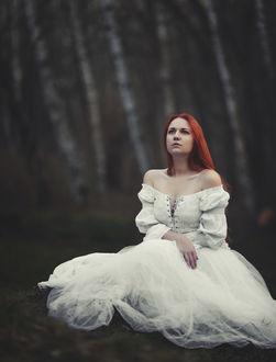 Фото Рыжеволосая девушка в белом платье с оголенными плечами сидит на земле на фоне размытого пейзажа берез