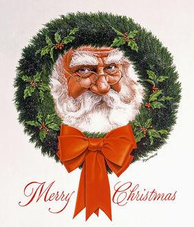 Фото Дед Мороз в Рождественском венке / Merry Christmas (Веселого Рождества), канадский художник-иллюстратор Richard De Wolfe