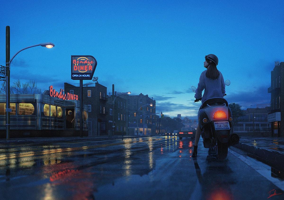 Фото Девушка на мотоцикле стоит на дороге
