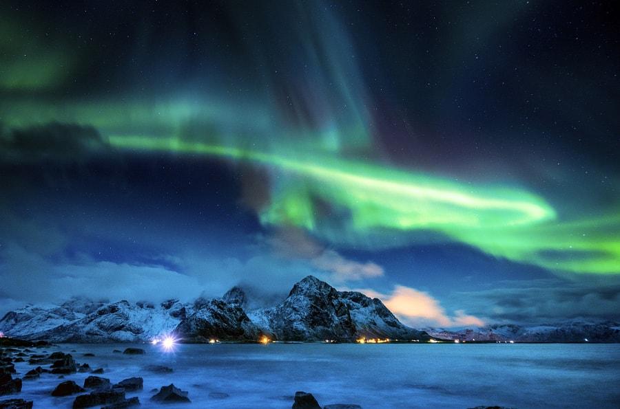 Фото небо горы север сияние