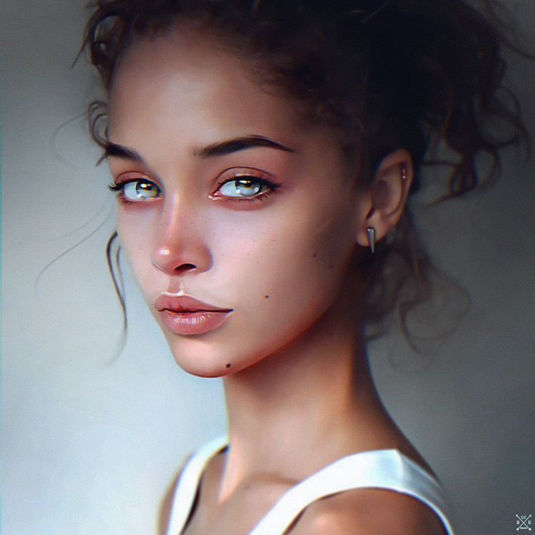 болшими глазами с девушка