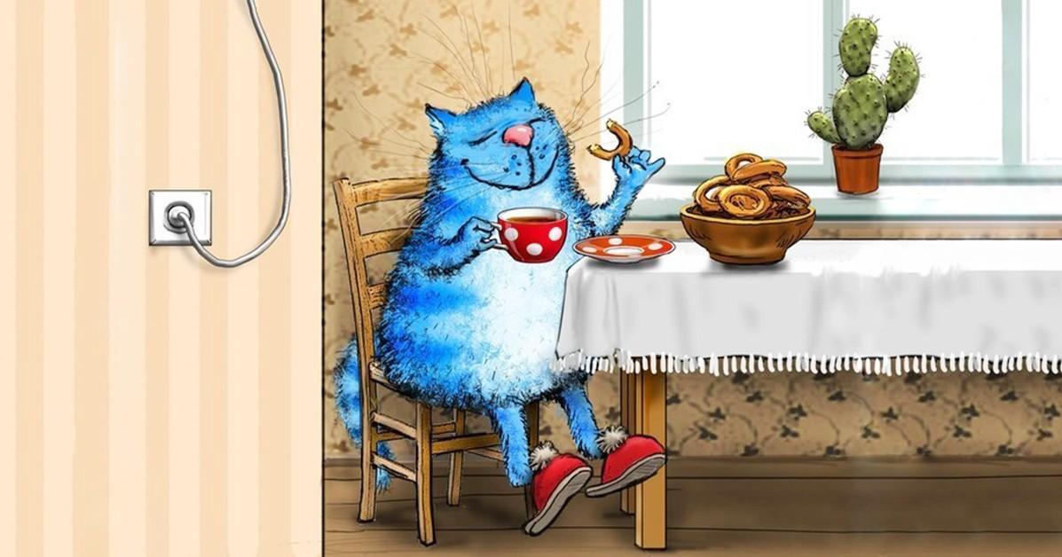 картинка синий кот за столом каталог рогов руль