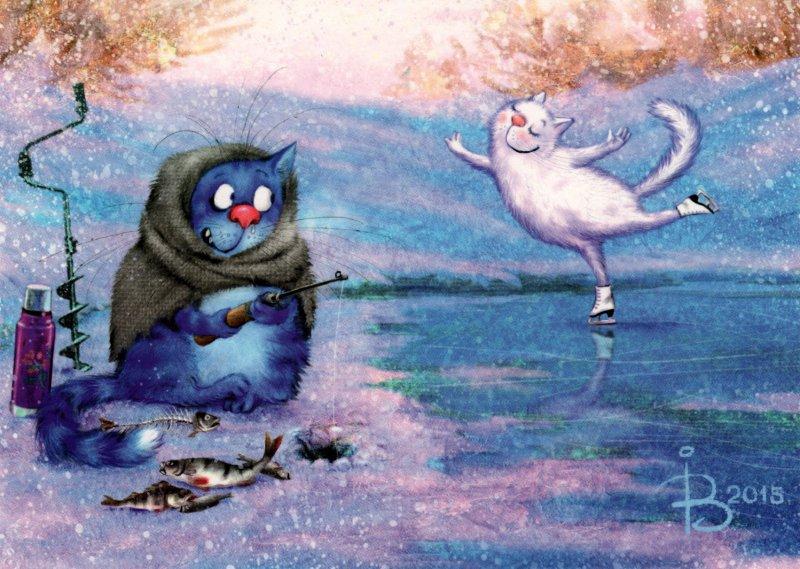 Фото Зима. Кот пришел на зимнюю рыбалку, укутался в плед, рядом чай в термосе и уже пойманная рыба. а рядом его соблазняет белая кошечка, которая катается по льду на коньках, художник-иллюстратор Ирина Зенюк / IRINA ZENUK