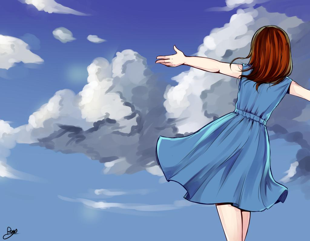 Девушка и облако рисунки