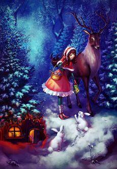 Фото Девочка с подарками стоит рядом с оленем в лесу перед кроликами
