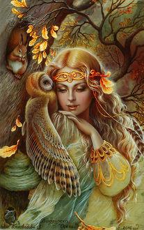 Фото Девушка с совой на плече, работа Подружка Осень, художница Беловодова