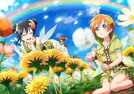 Фото Hoshizora Rin / Хошизора Рин и Yazawa Niko / Ядзава Нико из аниме Love Live! / Живая любовь! в образе фей среди поля одуванчиков и других цветов