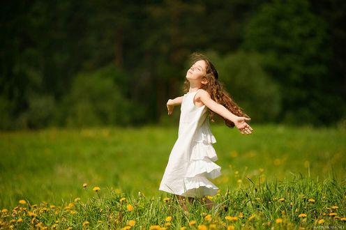 Фото Маленькая девочка с закрытыми глазами бежит с раскинутыми руками по полю с одуванчиками, by Alina Mayboroda