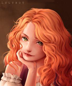 Фото Рыжеволосая девушка с зелеными глазами, by Lulybot