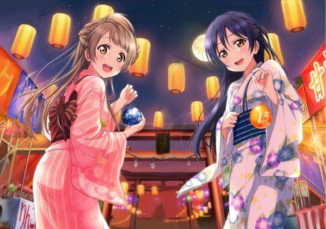 Фото Sonoda Umi / Сонода Уми и Minami Kotori / Минами Котори из аниме Love Live! / Живая любовь на традиционном японском фестивале