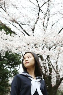 Фото Японская певица Ода Сакура / Oda Sakura в школьной форме стоит рядом с цветущей сакурой