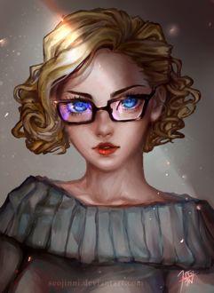 Фото Светловолосая девушка с голубыми глазами в очках, by Seojinni