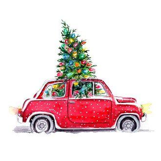 Фото В красной машине наряженная ель