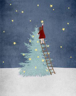 Фото Девочка с помощью лестницы, которая стоит у ели, вешает на небо звезду
