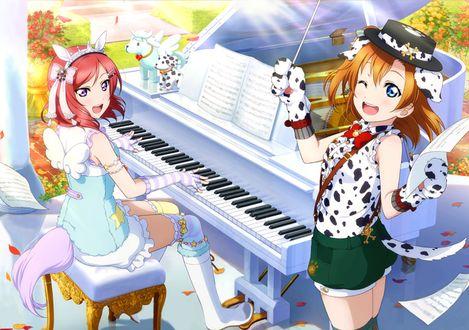Фото Хонока Косака / Honoka Kousaka из аниме Живая Любовь / Love Live дирижирует для Маки Нишикино / Maki Nishikino, которая играет на рояле. Обе девушке в образе собак