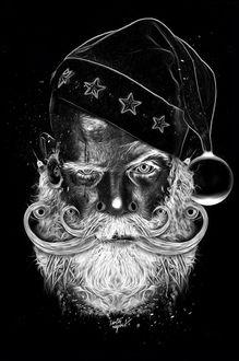 Фото Портрет старика в новогоднем колпаке, французский иллюстратор Obery Nicolas