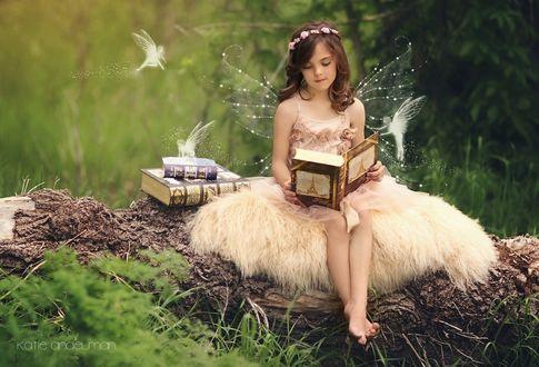 Фото Красивая девочка - мотылек с крылышками, с венком на голове из цветов сидит на стволе сухого дерева в лесу, читая книгу, вокруг летают маленькие лесные феи-мотыльки, by Katie Andelman