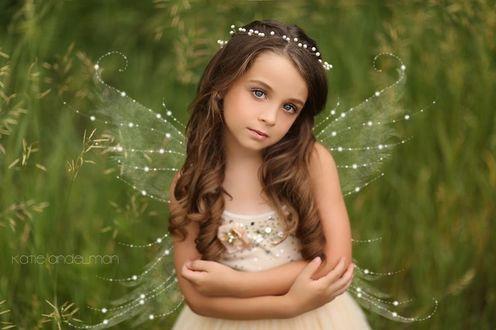 Фото Красивая девочка - мотылек с бусинами в волосах на фоне высокой травы, by Katie Andelman