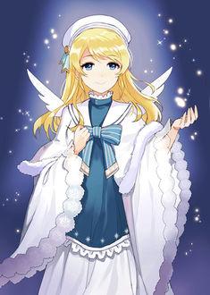 Фото Эри Аясэ / Eri Ayase из аниме Живая любовь / Love Live в образе ангела, в белой накидке и берете