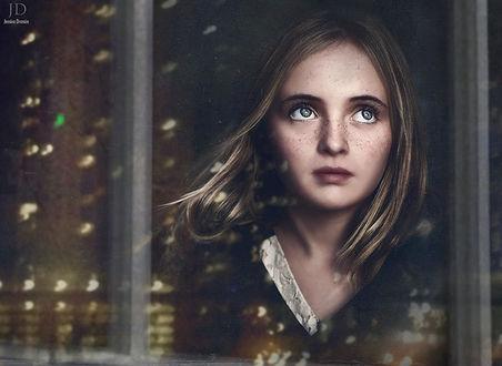 Фото Красивая большеглазая девочка стоит у окна, ретушь, by Djessica Drossin
