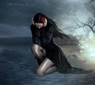 Фото Девушка в черном платье, с красной розой на волосах, сидит на земле, by mysolitaryground