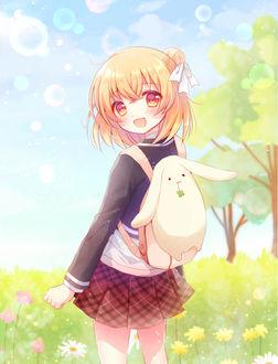 Фото Ханакоидзуми Ан / Hanakoizumi из аниме Лохушки / Anne Happy в школьной форме с рюкзачком в виде кролика на спине