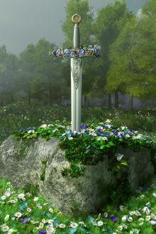 Фото Экскалибур, украшенный цветами в камне, by Art-By-Mel-DA