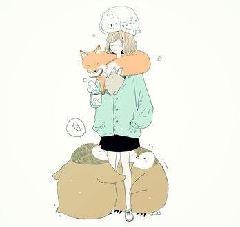 Фото Девушка, у ног которой стоят пингвины, мечтающие о рыбе, на голове сидит сова, на шее лежит лиса, а из куртки выглядывает кролик, держит в руках чашку горячего чая, by tofuvi