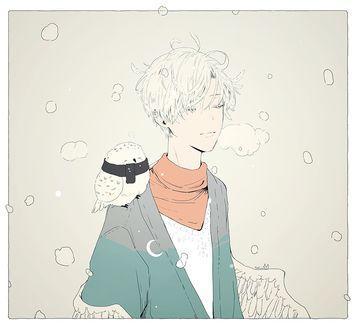 Фото Крылатый парень с совой на плече, by tofuvi